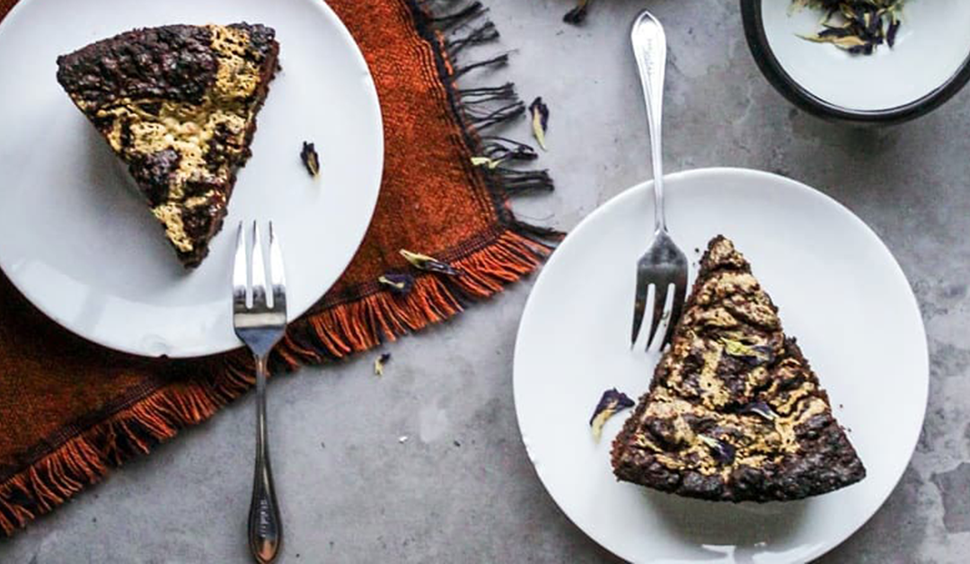 CHOCOLATE TAHINI SWIRL FUDGE CAKE