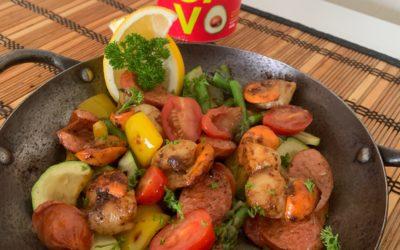 CAJUN PAN SCALLOPS WITH CHORIZO & VEGETABLES